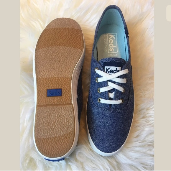 5965f612d24 KEDS Women s Champion Solid Chambray Navy Sneaker